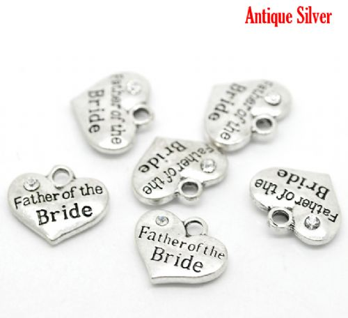 "5 Antique Silver Heart with  Rhinestone ""Father of the Bride"" Charm / Pendants 16x14mm"